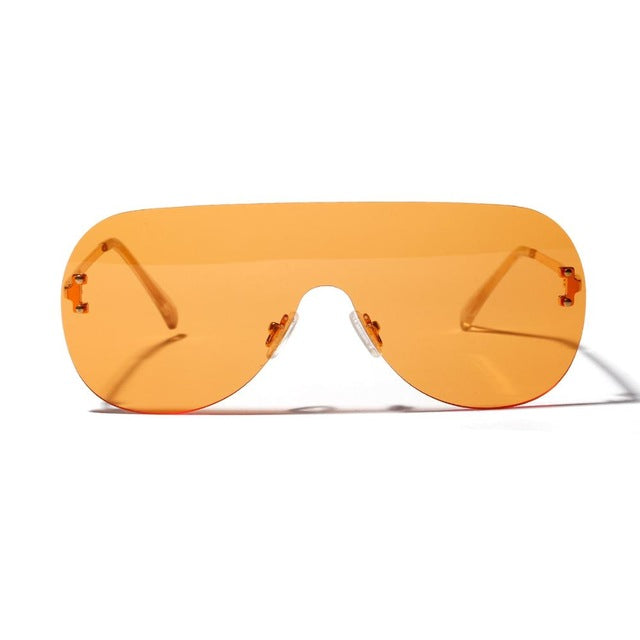 Load image into Gallery viewer, Orange Oversized imless Sunglasses