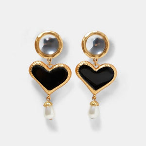 Load image into Gallery viewer, Heart Pearl Drop Earrings