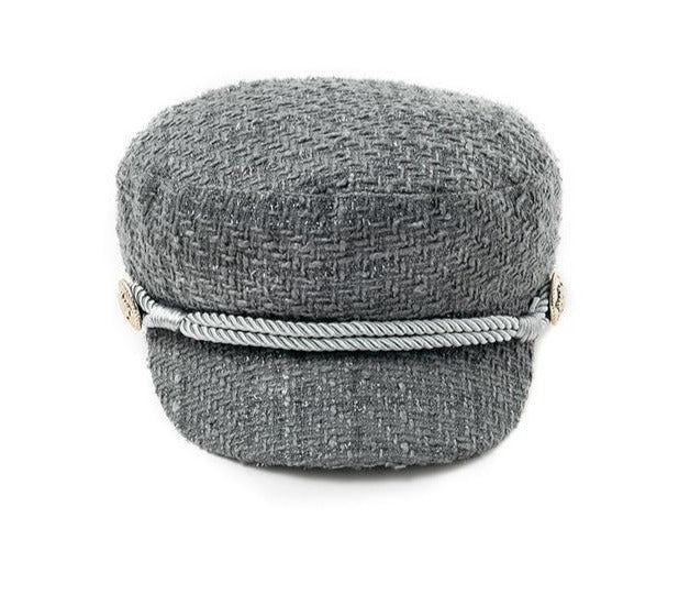 Flat Top Military Hat With Rope Front