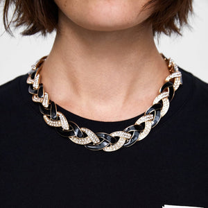 Black And Gold Oversized Chain Collar Necklace