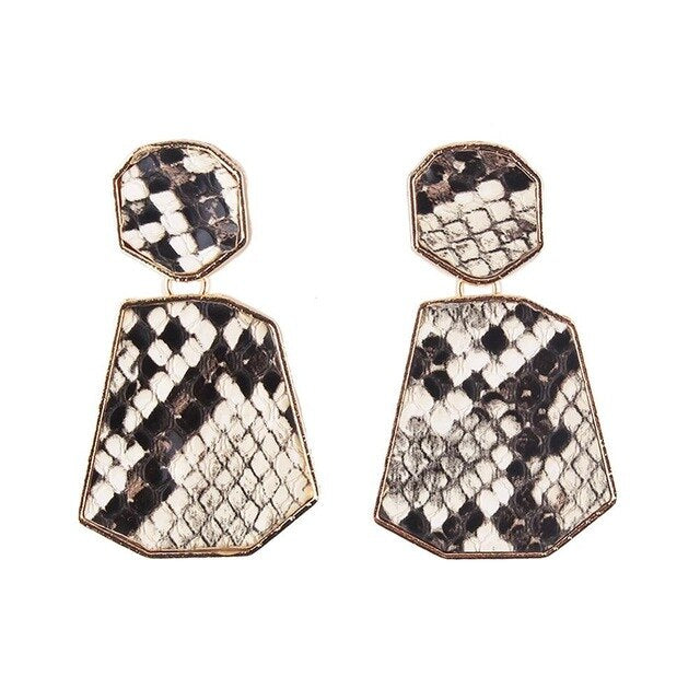 Bold Crocodile Print Drop Earrings