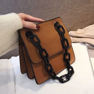 Brown Square Chain Bag