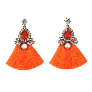 Orange Jewel And Tassel Long Statement Earrings