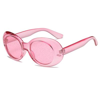 Oval Candy Colourful Sunglasses With Transparent Frame