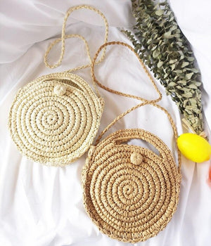 Load image into Gallery viewer, Straw Mini Circular Beach Bag