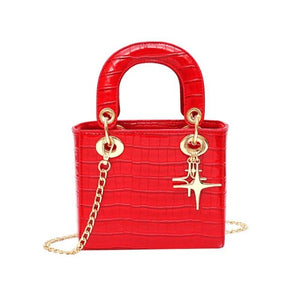 Elegant Crocodile Pattern Grab Bag With Chain