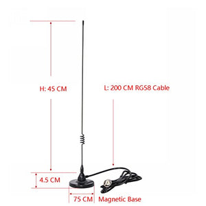 Dualband Mobile Antenna 2m/70cm VHF/UHF Ham Radio, 137-149, 437-480 Mhz, Magnet Base PL-259 Connector, 10 Ft RG58 Cable