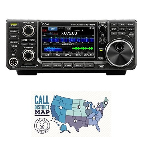 Icom IC-7300 HF/50 MHz Base Transceiver with Touch Screen Color TFT LCD, 100 Watts, and Ham Guides Pocket Reference Card - Bundle - 2 Items
