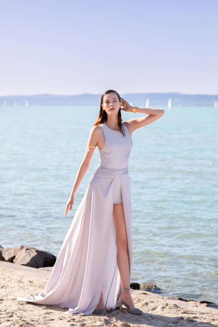 Sleeveless Jumpsuit with Detachable Long Skirt