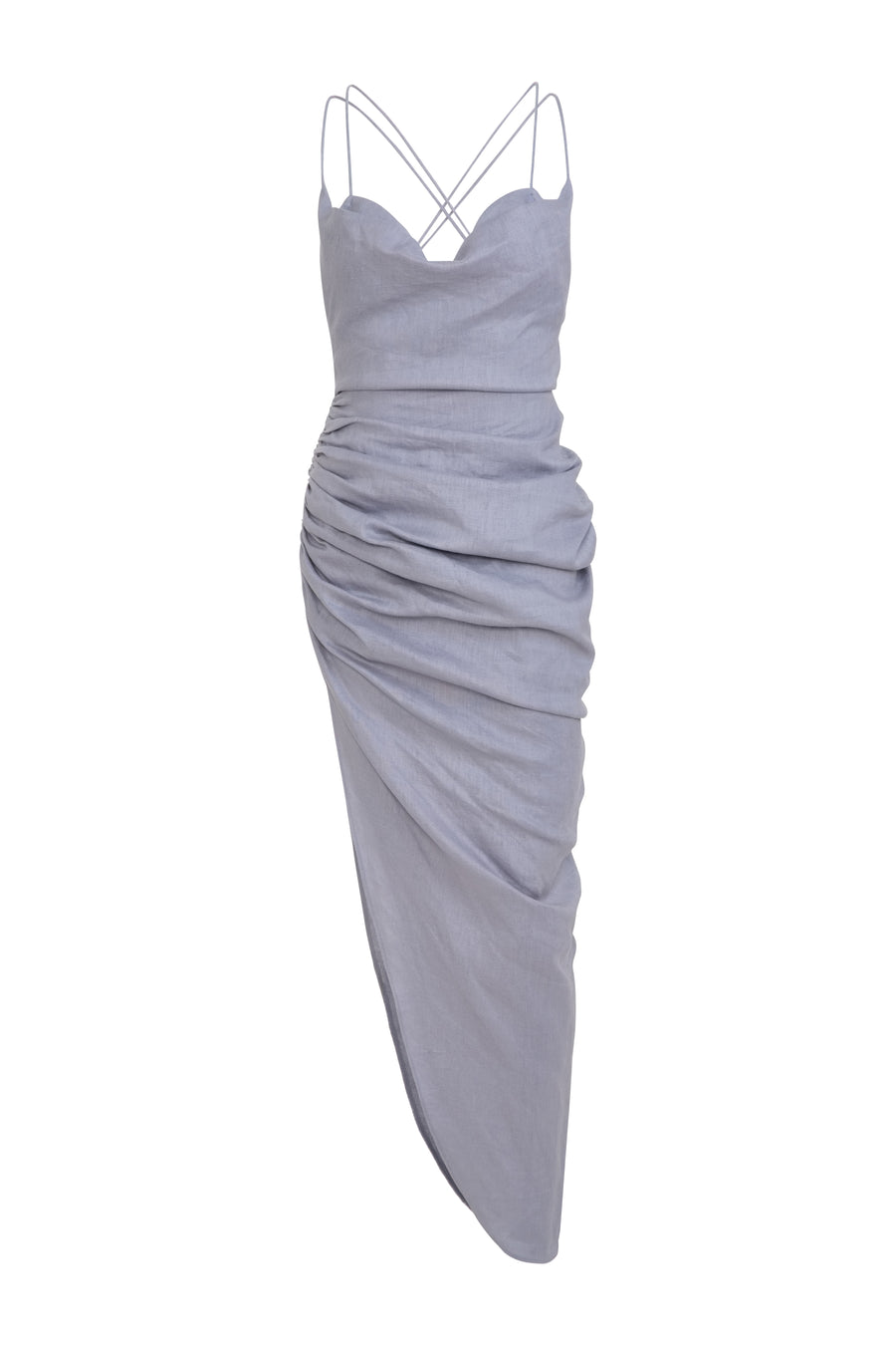 Sleeveless Cowl Neck Draped Dress with Bralette SS21