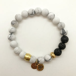 White Howlite + Lava Stone with choice of charm