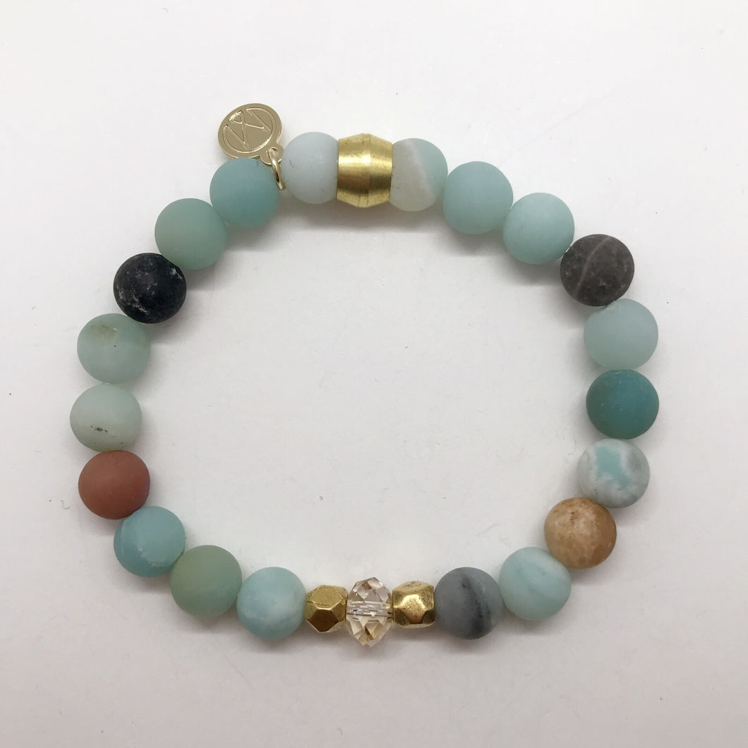Rainbow Amazonite with Swarovski Crystal