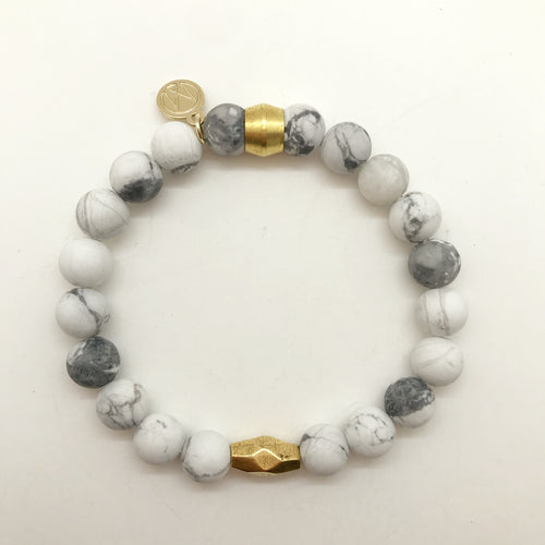 White Howlite with center bead