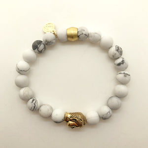 White Howlite with Buddha Bead