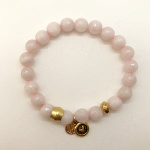 Rose Quartz with choice of charm