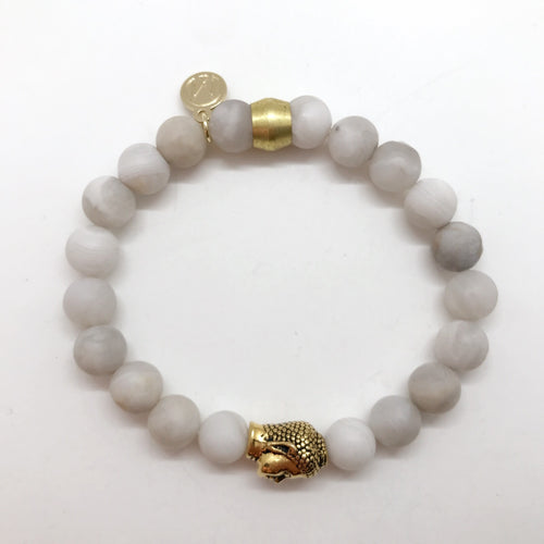 Natural Grey Agate with Buddha Bead