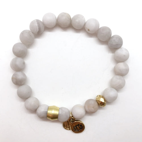 Natural Grey Agate with choice of charm