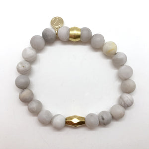 Natural Grey Agate with center bead