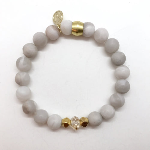 Natural Grey Agate with Swarovski Crystal