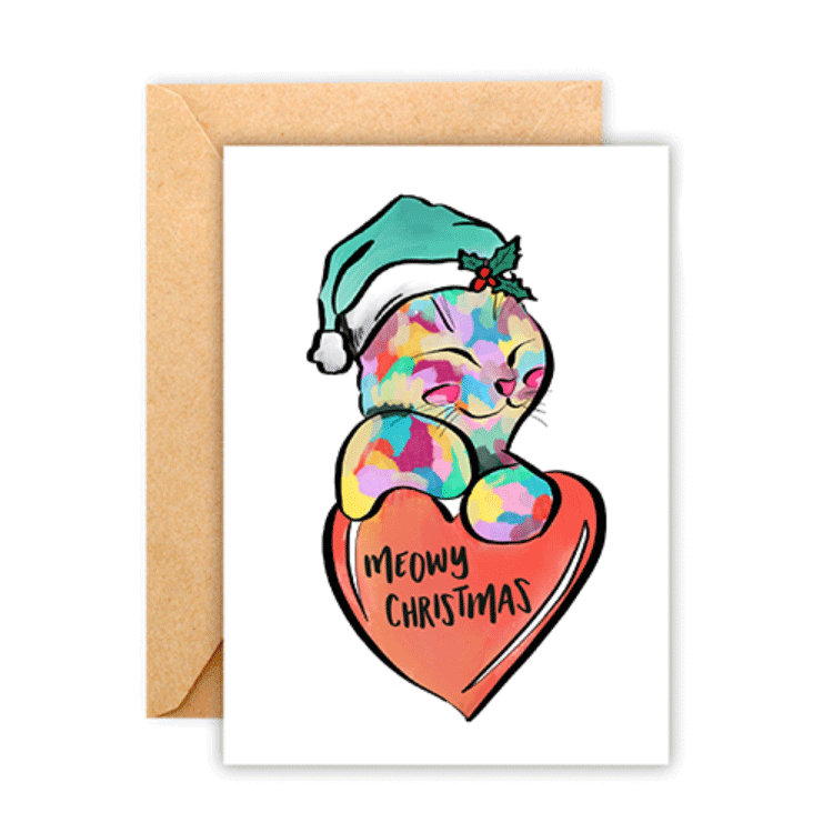 Meowy Christmas Cat • Greeting Card