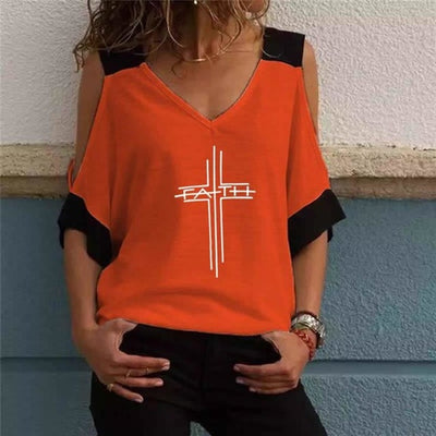 Faith Within Cross Cold Shoulder V Neck Tee