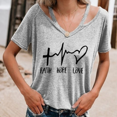 Faith. Hope. Love. Open Shoulder V Neck Tee