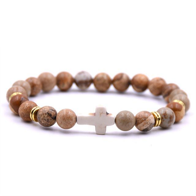 Natural Soil Stone Cross Bracelet