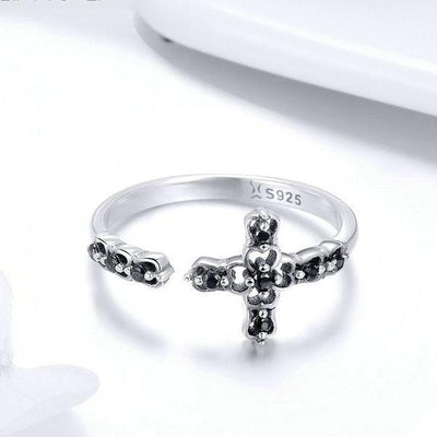 Sterling Silver Adjustable Cross Ring