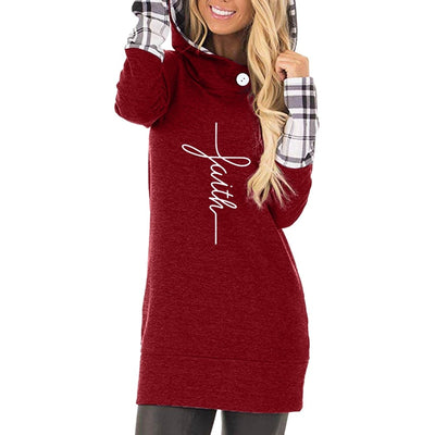Faith Cross Plaid Long Sleeve Hoodie