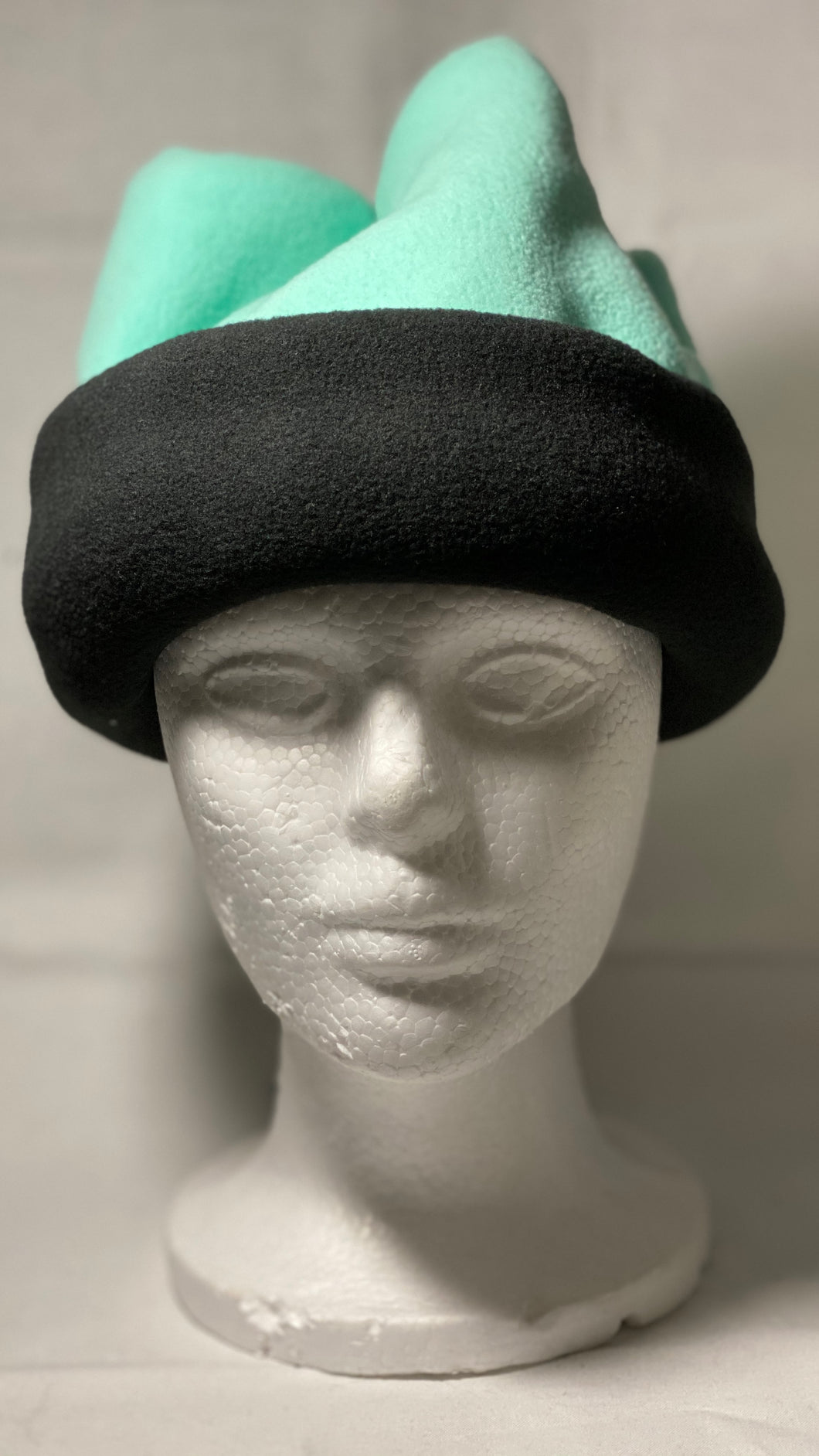 Mint/Black Fold Fleece Hat