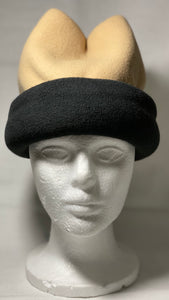 Tan/Black Fold Fleece Hat