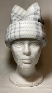 White Plaid Fleece Hat