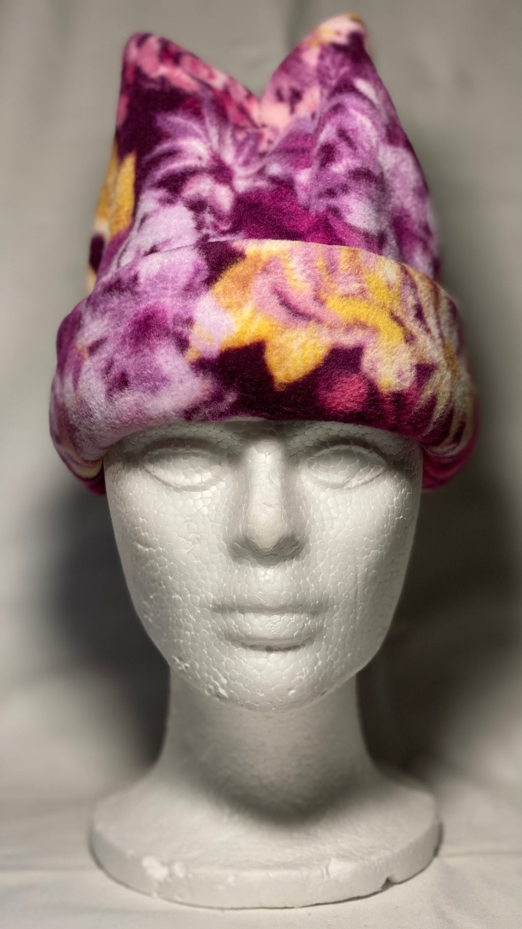 Purple Flowers Fleece Hat