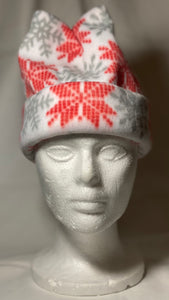 Red/White Snowflake Fleece Hat