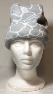 Grey & White Petal Fleece Hat