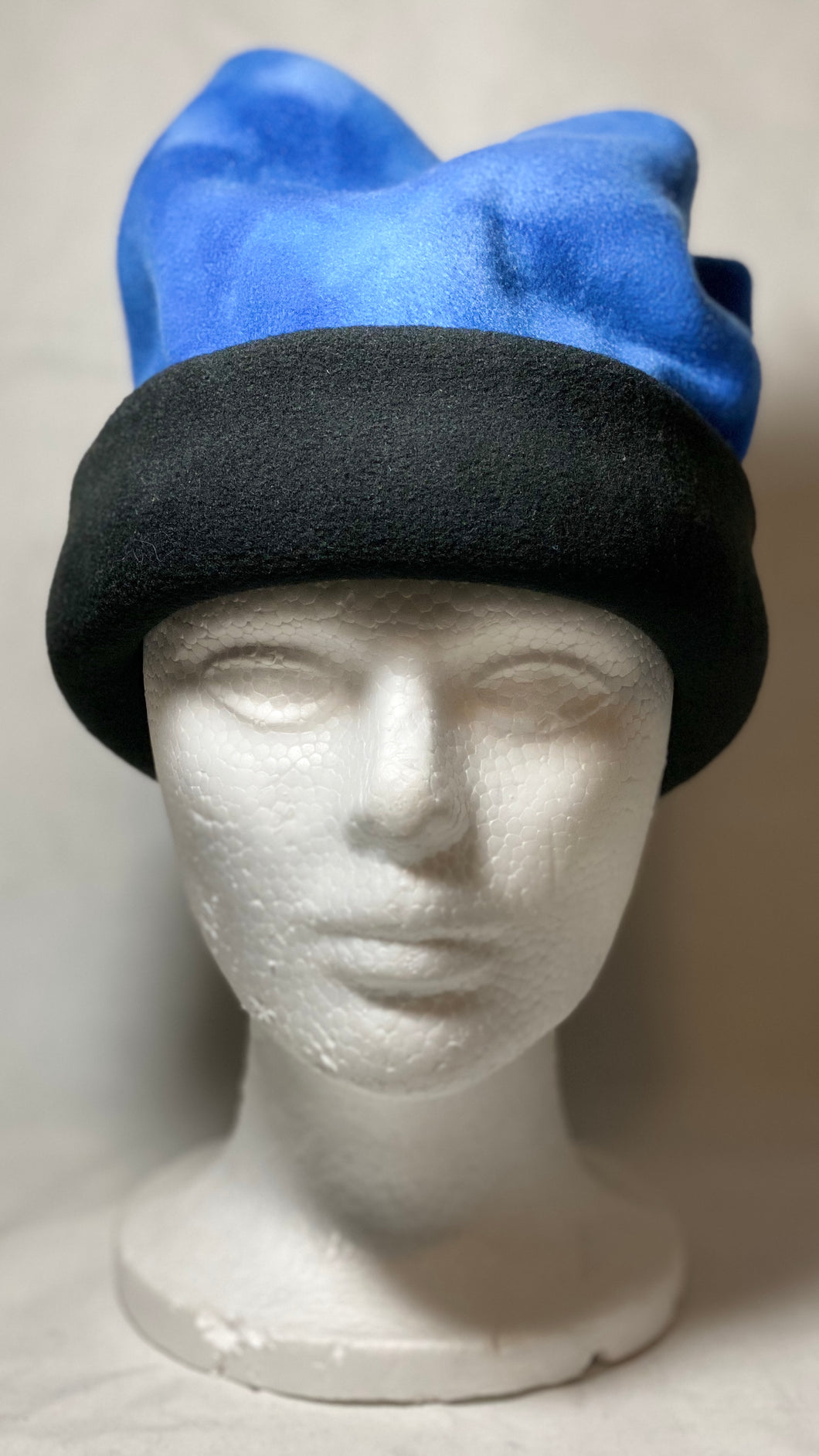Blue Dye Black Fold Fleece Hat