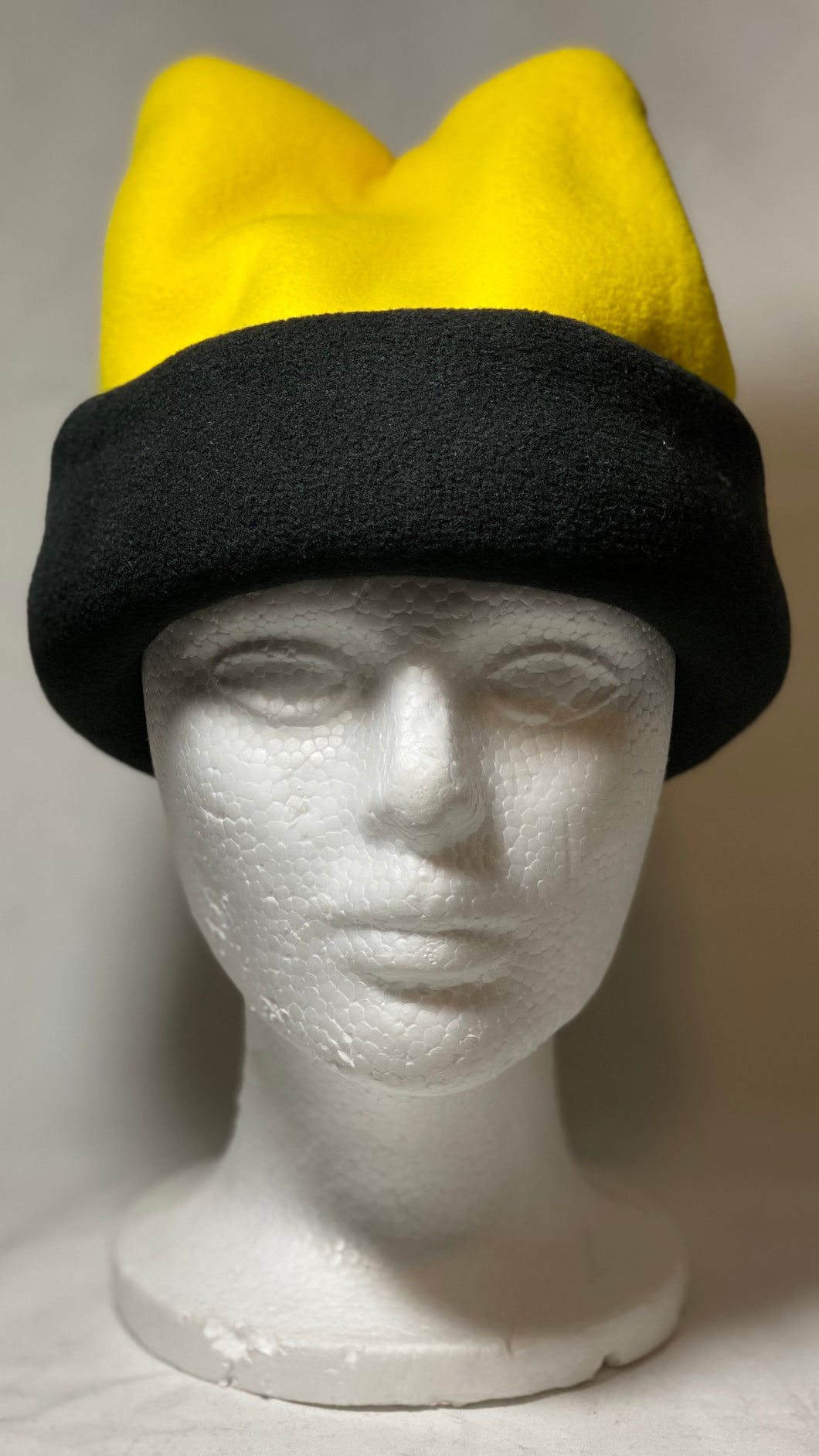 Lemon Yellow/Black Fold Fleece Hat