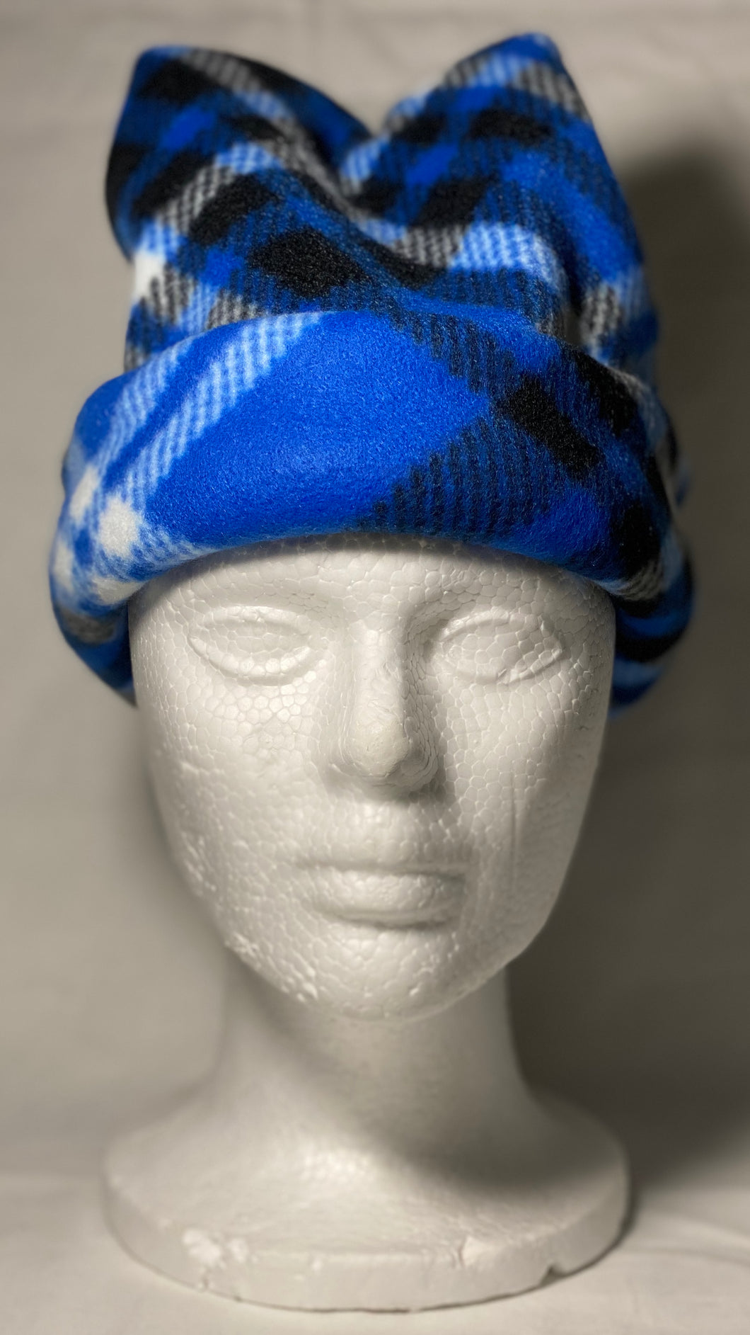 Blue Plaid Fleece Hat