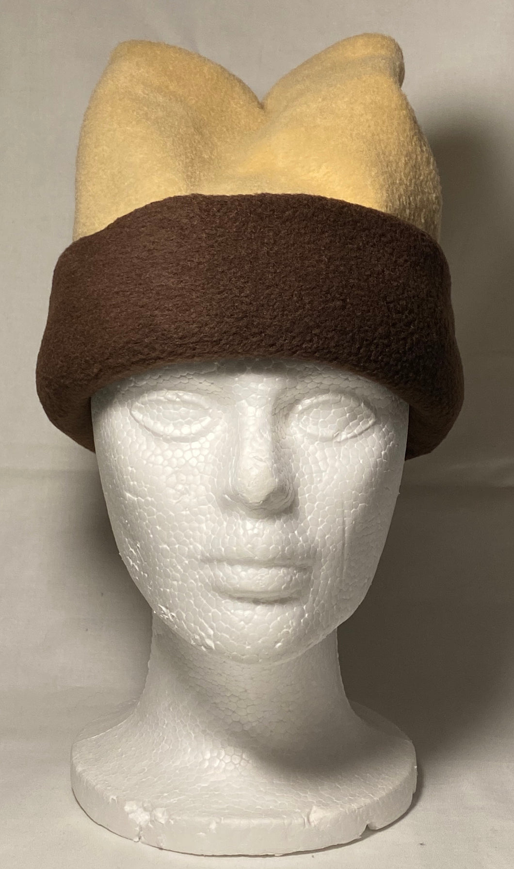 Tan/Brown Fold Fleece Hat
