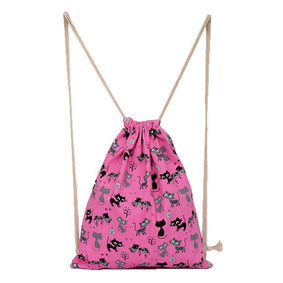 Canvas Drawstring Cat Bag