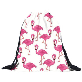 Funky Flamingo Drawstring Bag