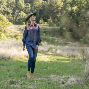 KOLOA Denim Shirt in bordeaux - Farm Gypsy