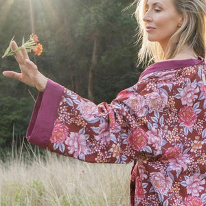 ANINI reversible Kimono in bordeaux - Farm Gypsy