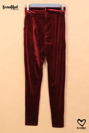 Legging velvet rouge