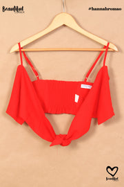 Crop top rouge à noeud Loavies
