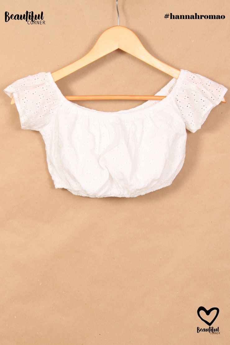 Crop top blanc manches volants