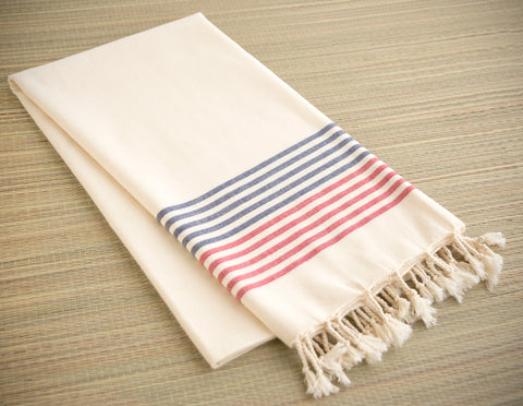Striped Cotton Peshtemal Towel - Red