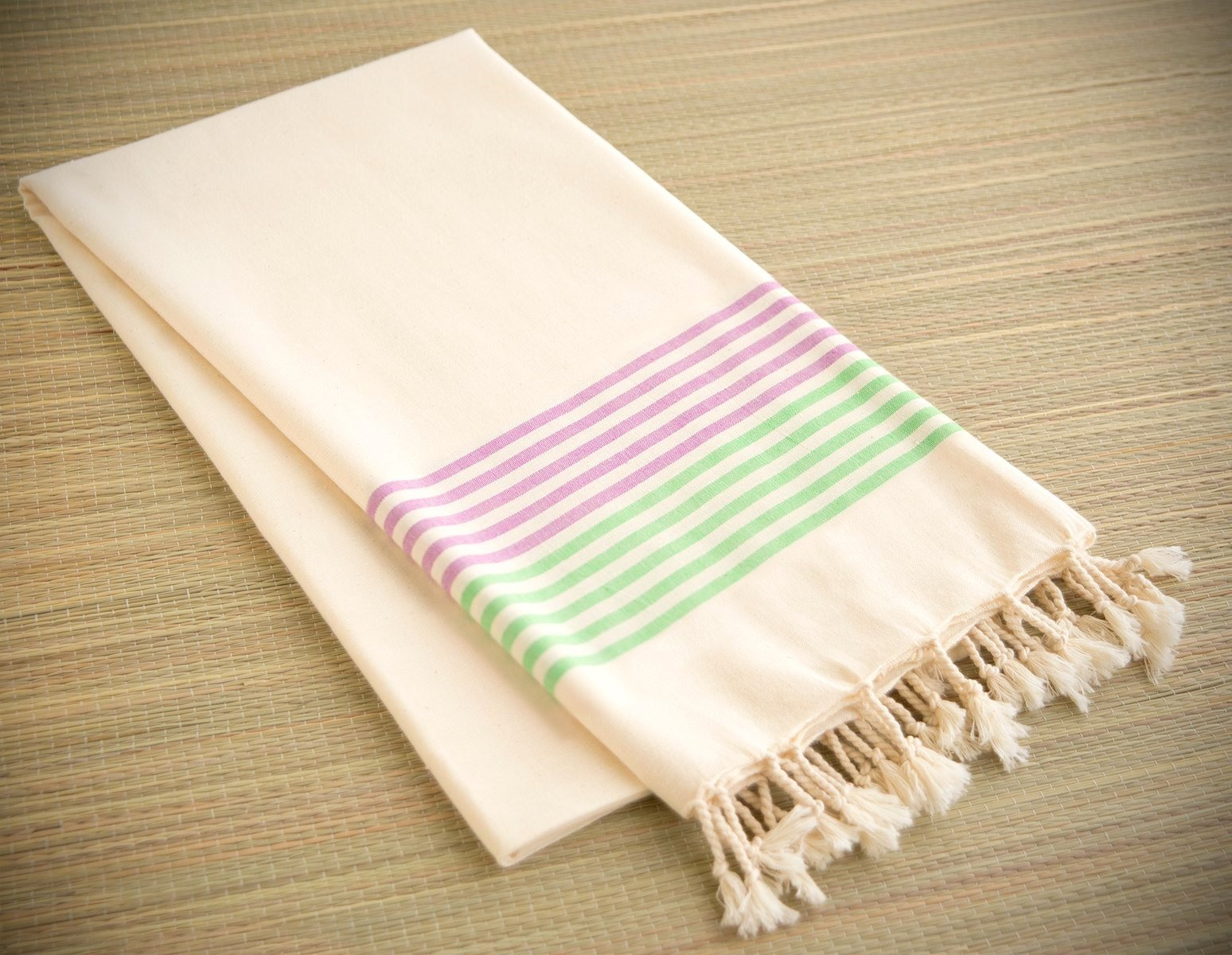 Striped Cotton Peshtemal Towel - Pink & Green