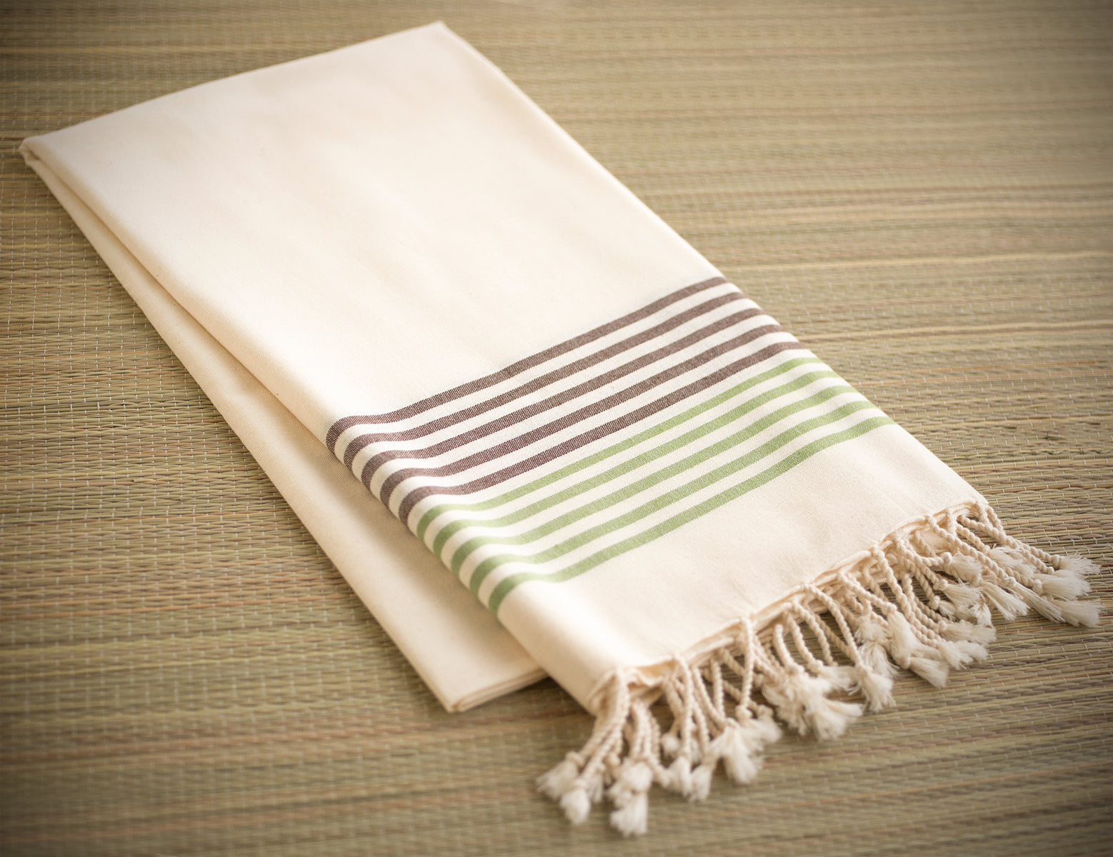 Striped Cotton Peshtemal Towel - Green