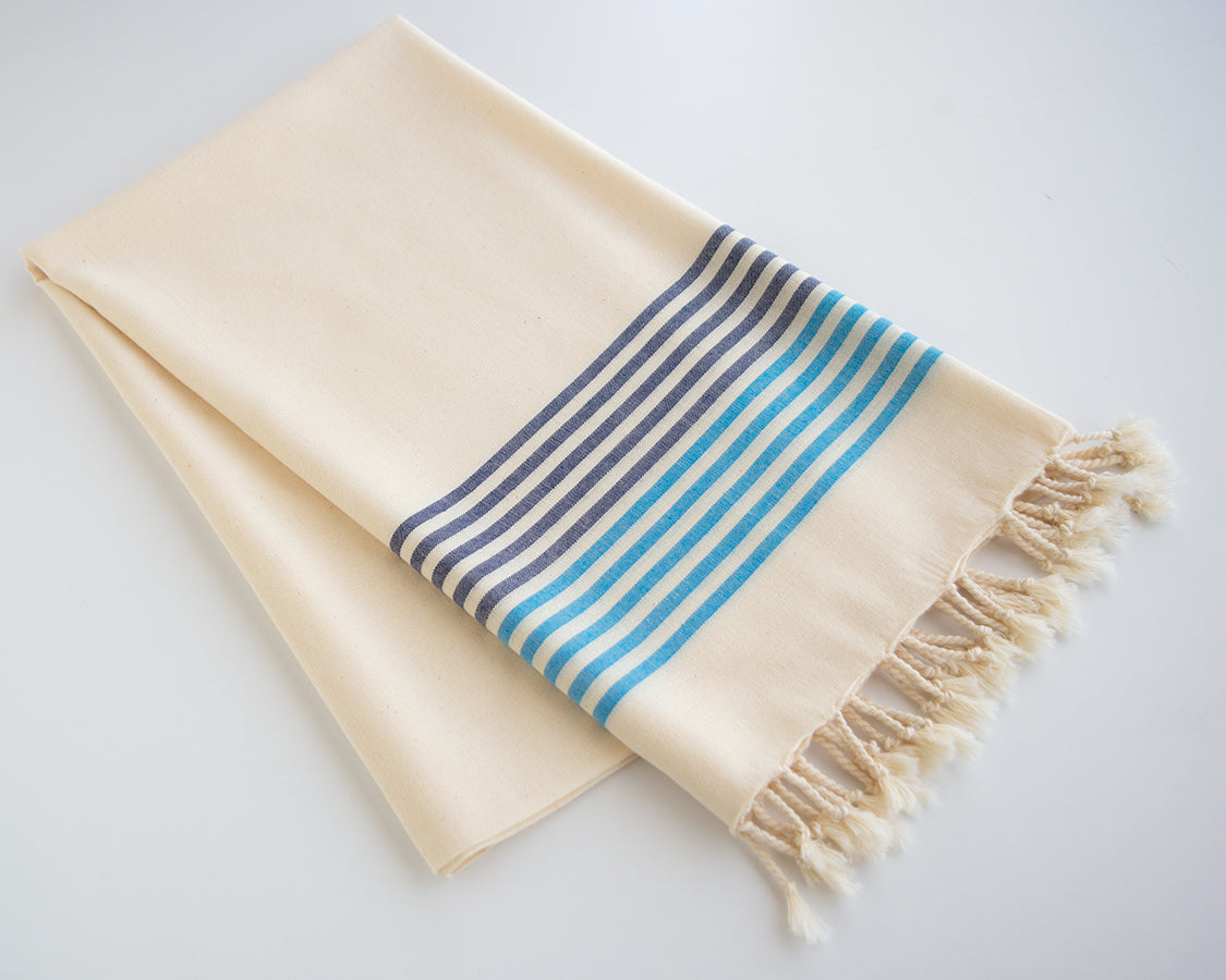 Striped Cotton Peshtemal Towel - Blue